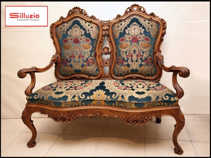SILLUZIO ARREDAMENTI For sale: antique two-seater sofa, baroque style made in Italy